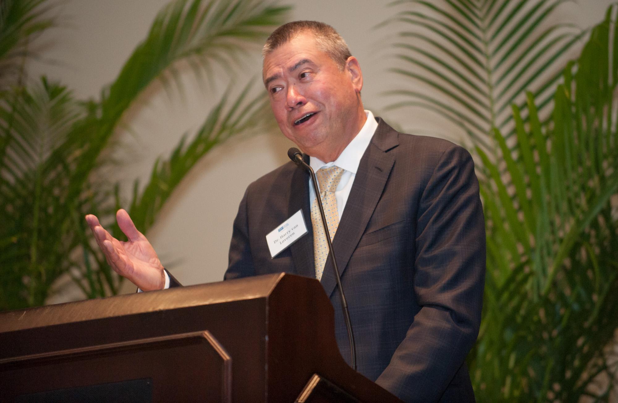 Dr. Harry Van Loveren speaks during the Tgh Foundation dinner.