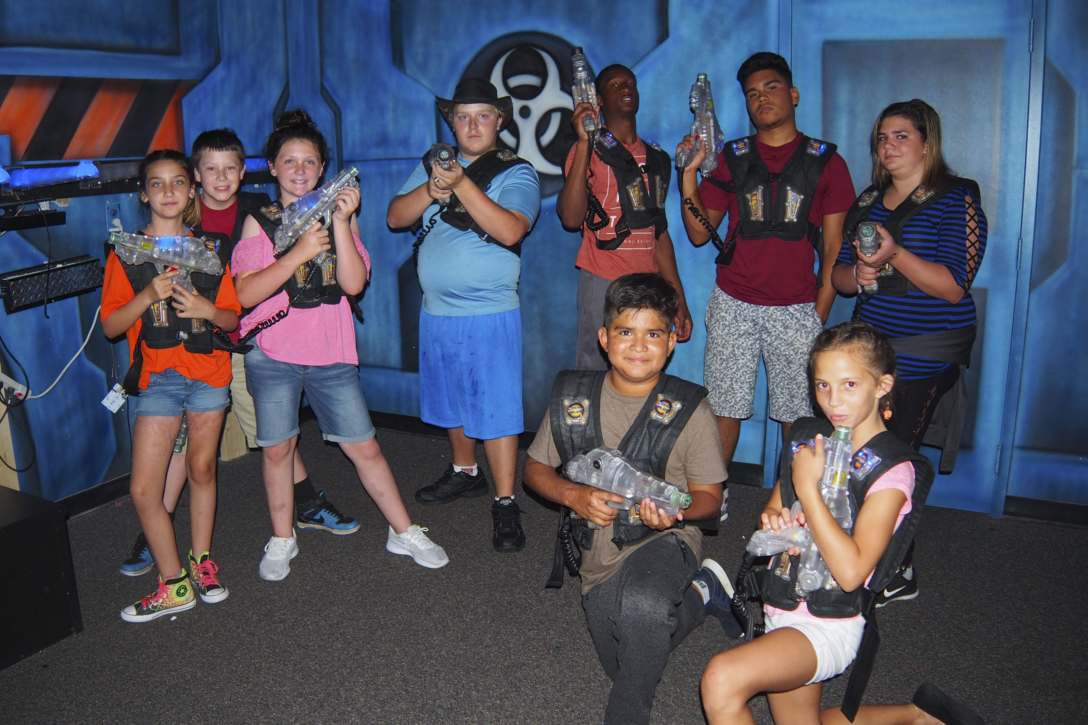Group of kids playing laser tag