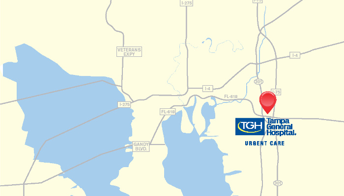 Map with location of TGH urgent care clinic