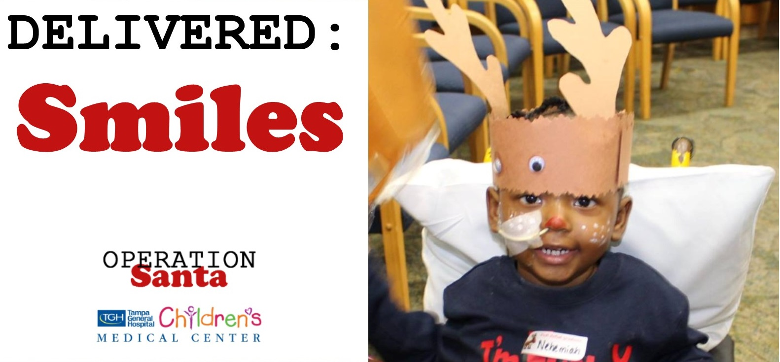 "Little boy in the hospital who had his face painted like a reindeer during the ""Operation: Santa"" event"