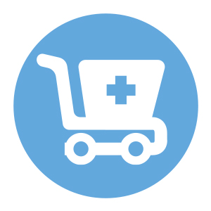 white and blue shopping cart icon