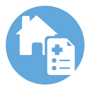 blue and white home medication checklist icon