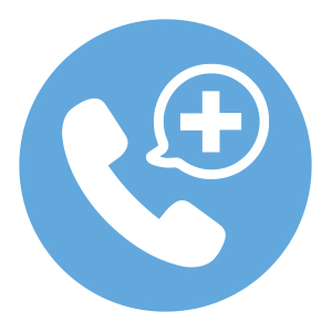 Blue and white phone icon with hospital cross in word bubble icon