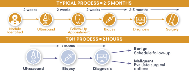 information graphic with copy that explains the typical process of having a thyroid nodule diagnosed versus the process for diagnosis at the TGH Thyroid Nodule Rapid Evaluation Clinic