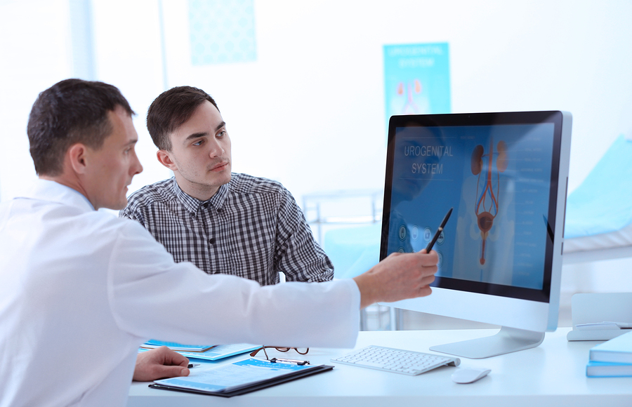 Physician showing a patient a diagram on the computer