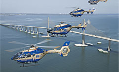 Group of helicopters flying over the Tampa Bay Area