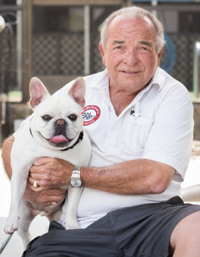 Bob Icenogle with his dog, Gizmo
