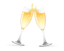 Toast of two champagne glasses