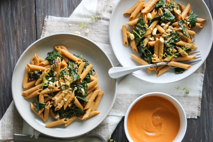 Kale Pasta with Sun-Dried Tomato Cashew Sauce