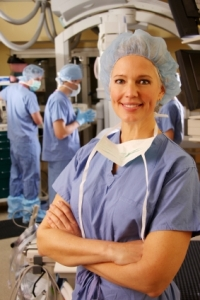 Female physician in the operating room
