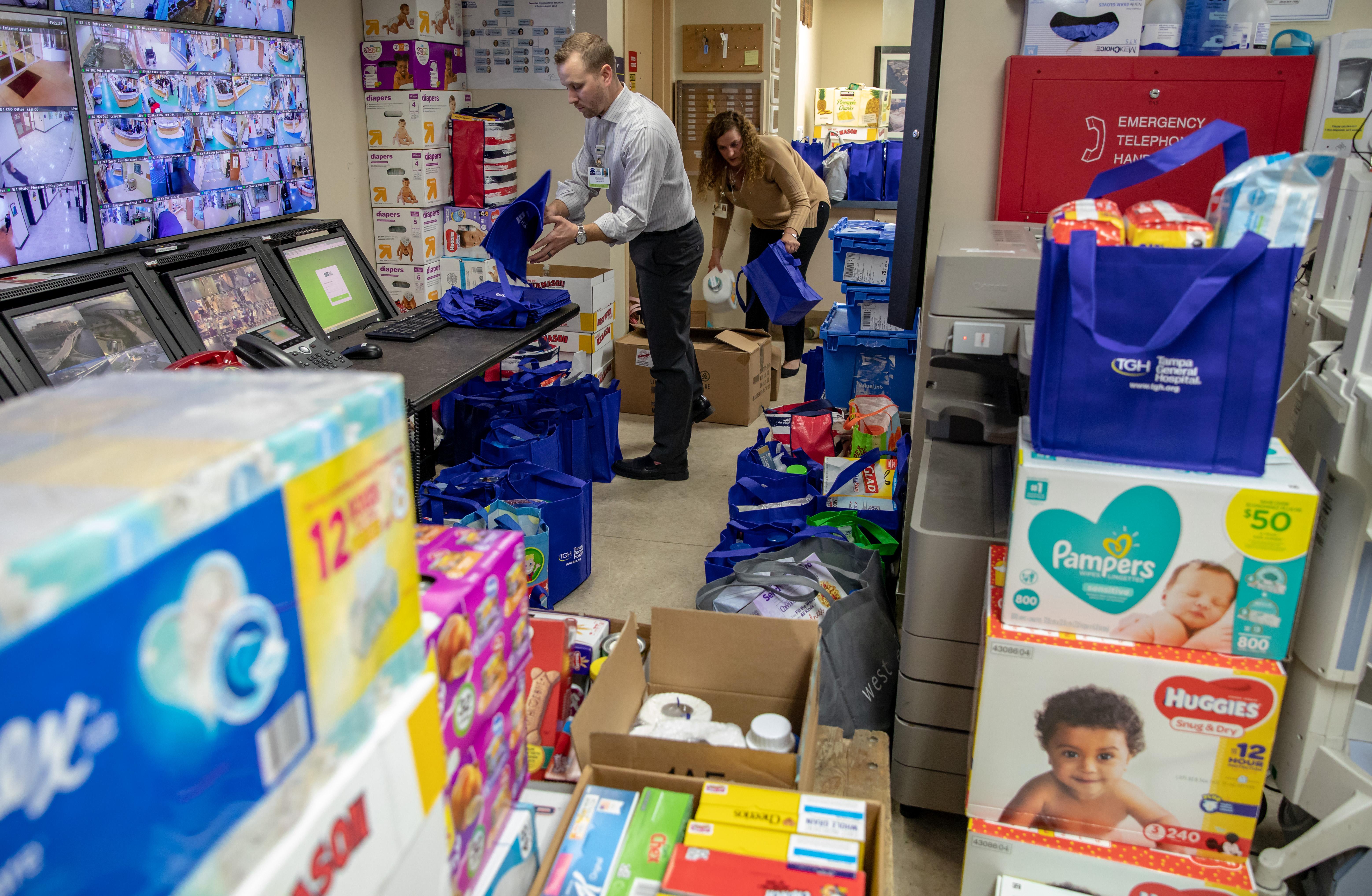 TGH team members prepare donations