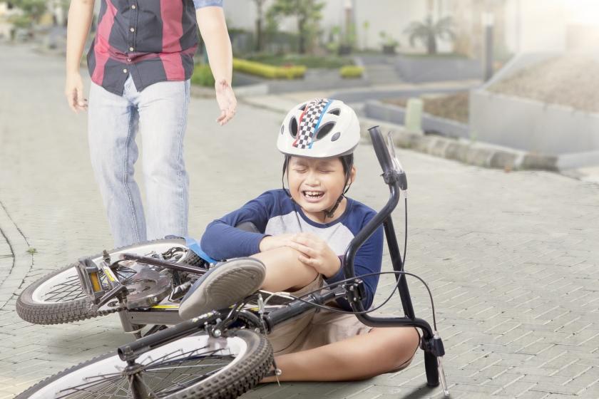 boy had a bicycle crash
