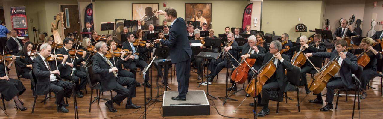 Image of the Florida Orchestra. The Florida Orchestra stopped at Tampa General Hospital this morning on their community performances tour