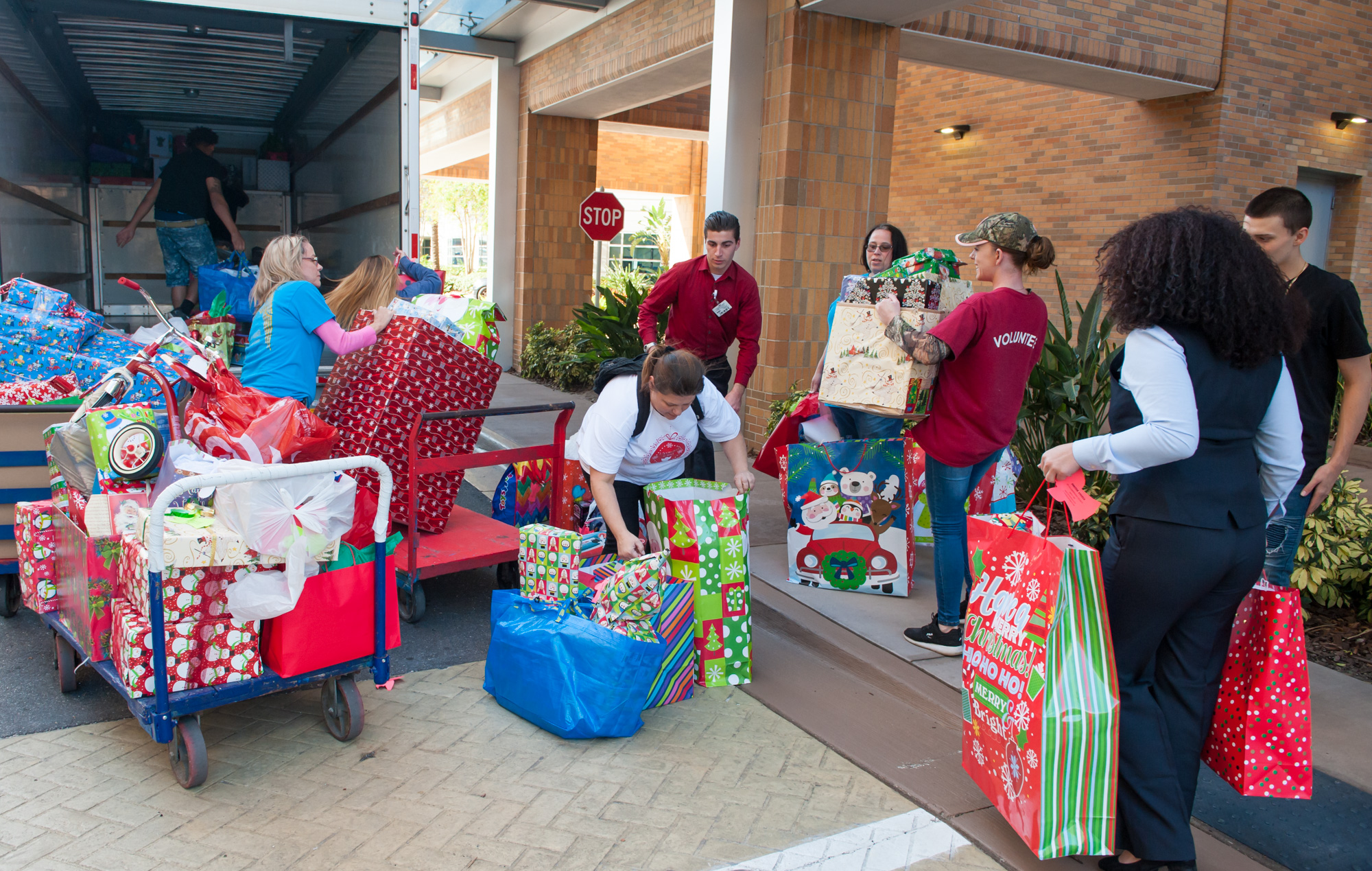Foster Angels unloading presents