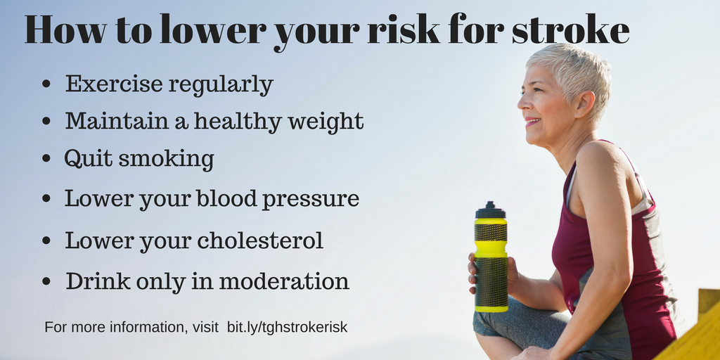 How to lower your risk for stroke: Exercise regularly; Maintain a healthy weight; Quit smoking; Lower your blood pressure; Lower your cholesterol; Drink only in moderation