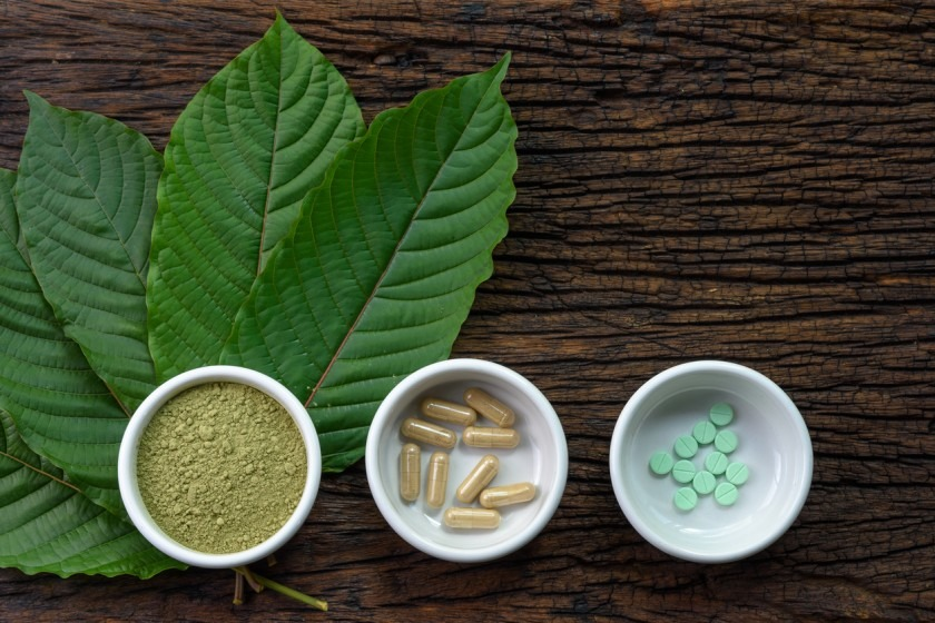 Different forms of kratom, an herbal supplement
