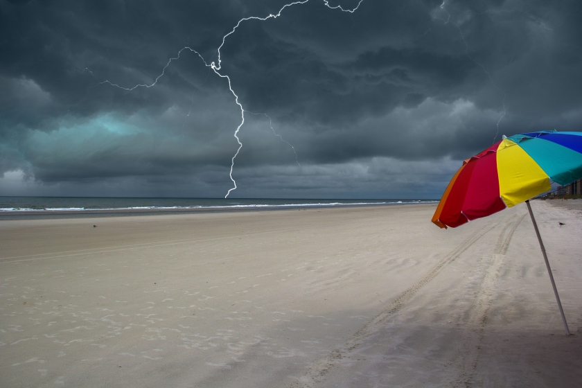 Lightning on the beach