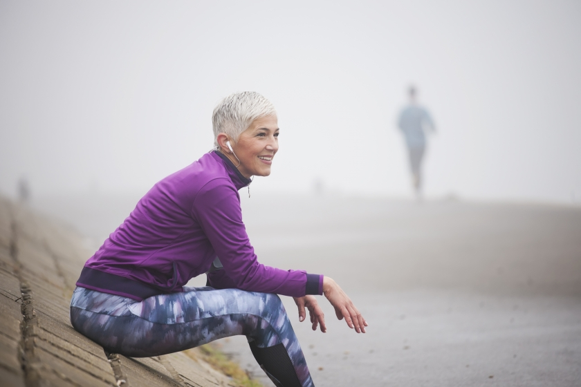 Woman on an exercise break
