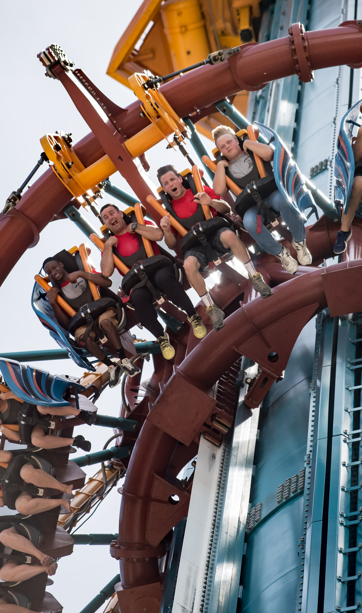 Group of boys on Falcon's Fury at Busch Gardens with Camp Hopetake