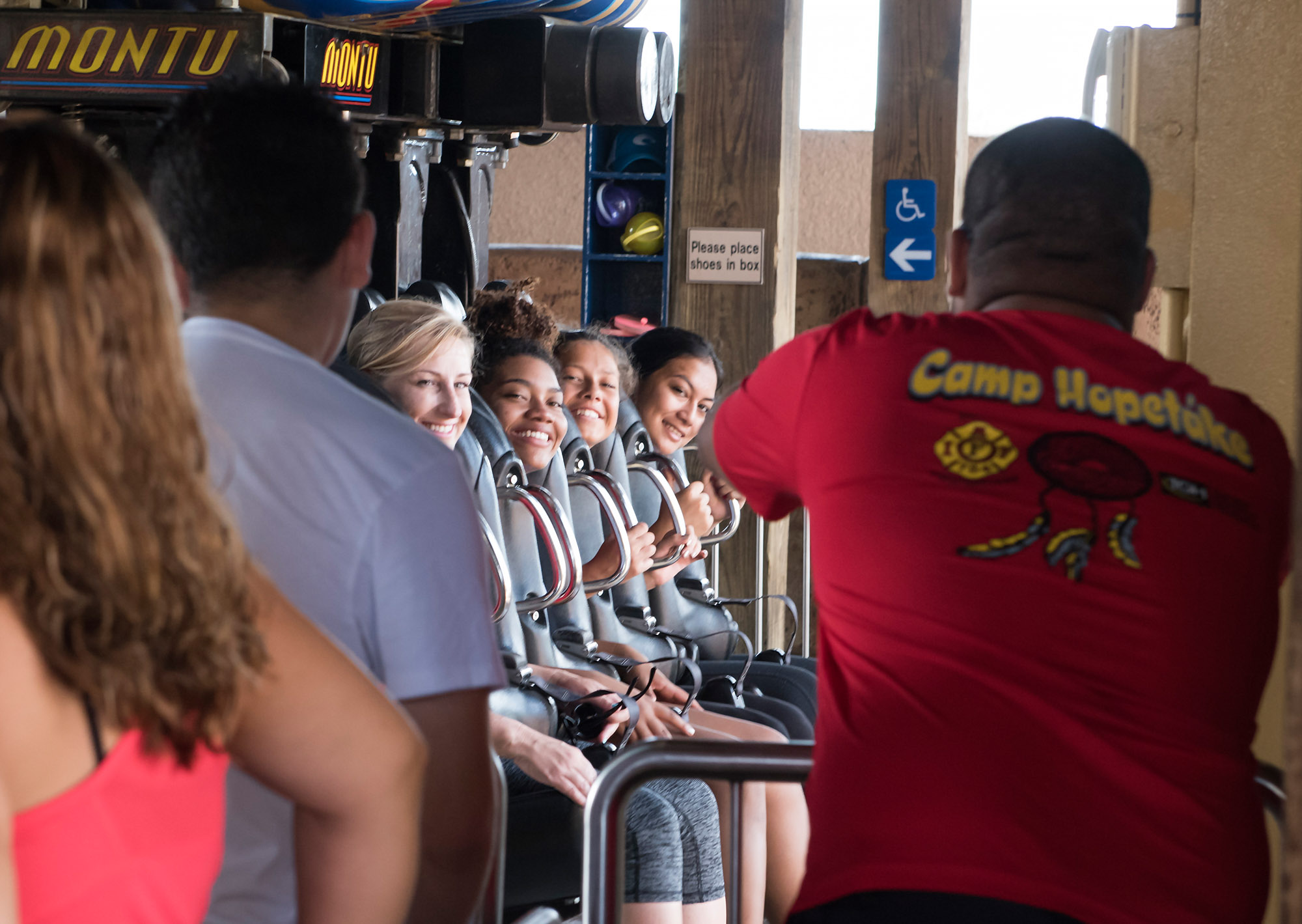 Group of girls on Montu at Busch Gardens with Camp Hopetake