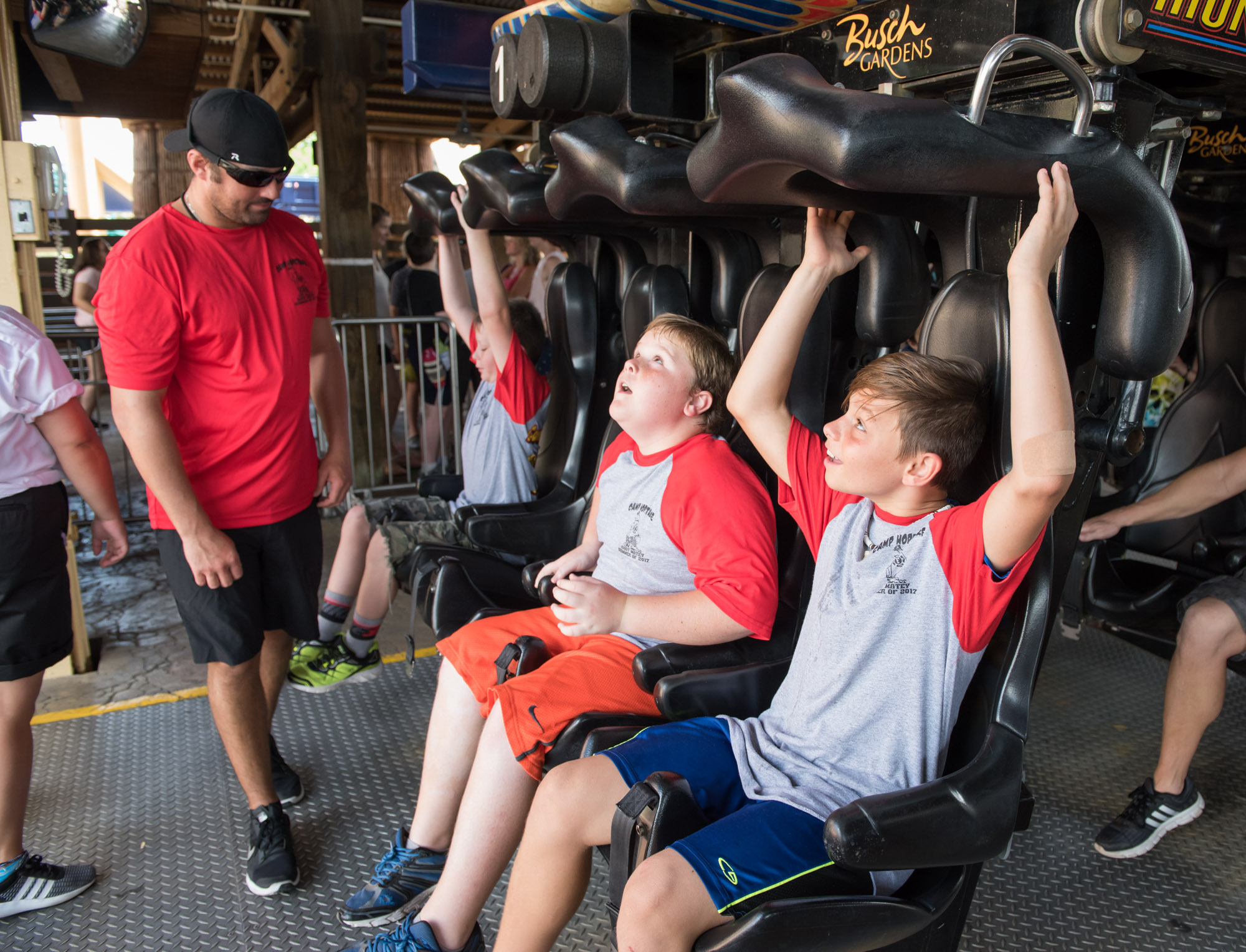 Group of boys on Montu at Busch Gardens with Camp Hopetake