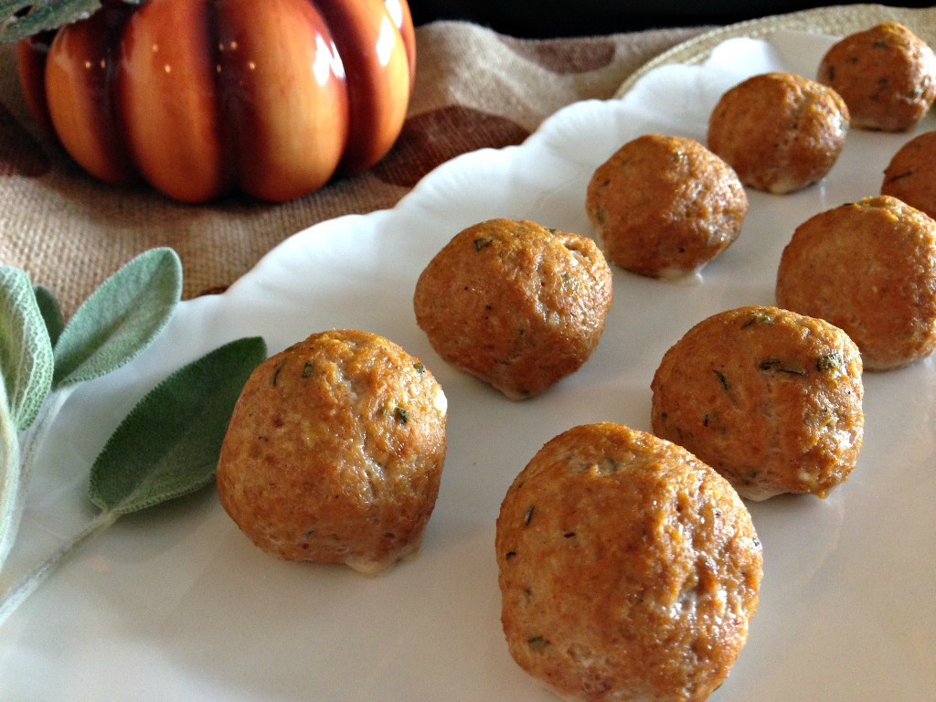Mini Pumpkin Turkey Meatballs with Herbed Goat Cheese