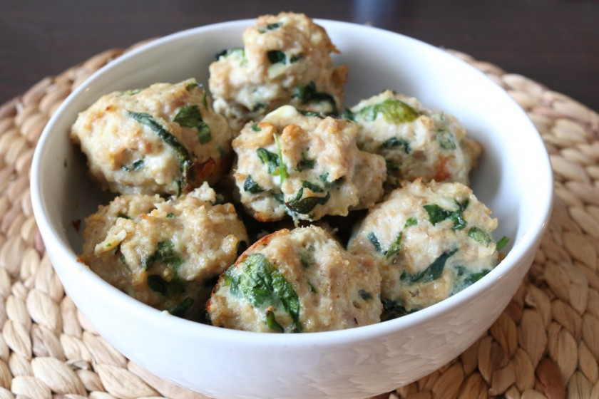 Spinach and Basil Chicken Meatballs