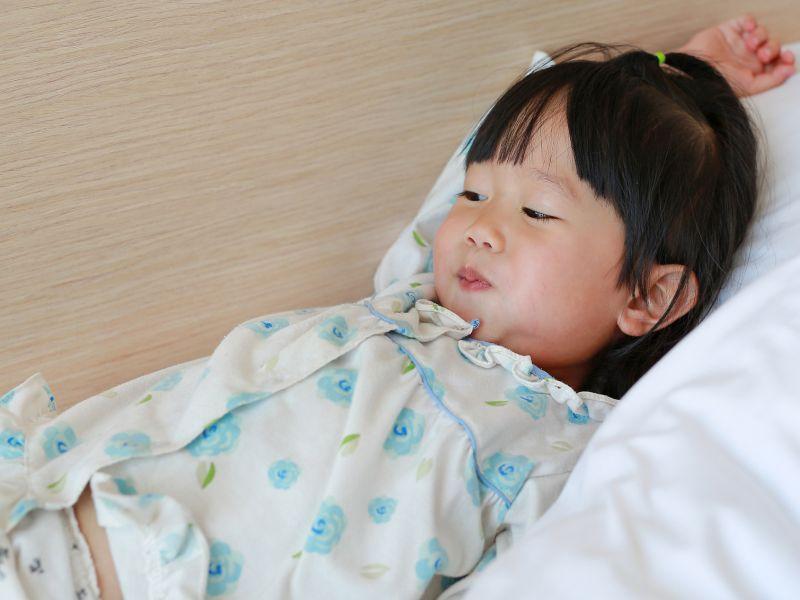 preschooler in bed
