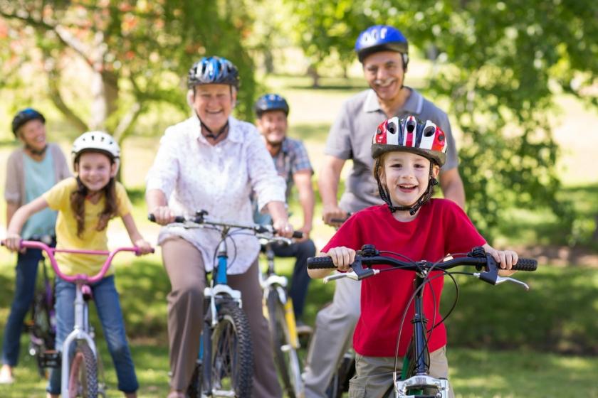 Family riding their bikes
