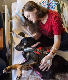Patient with her therapy dog