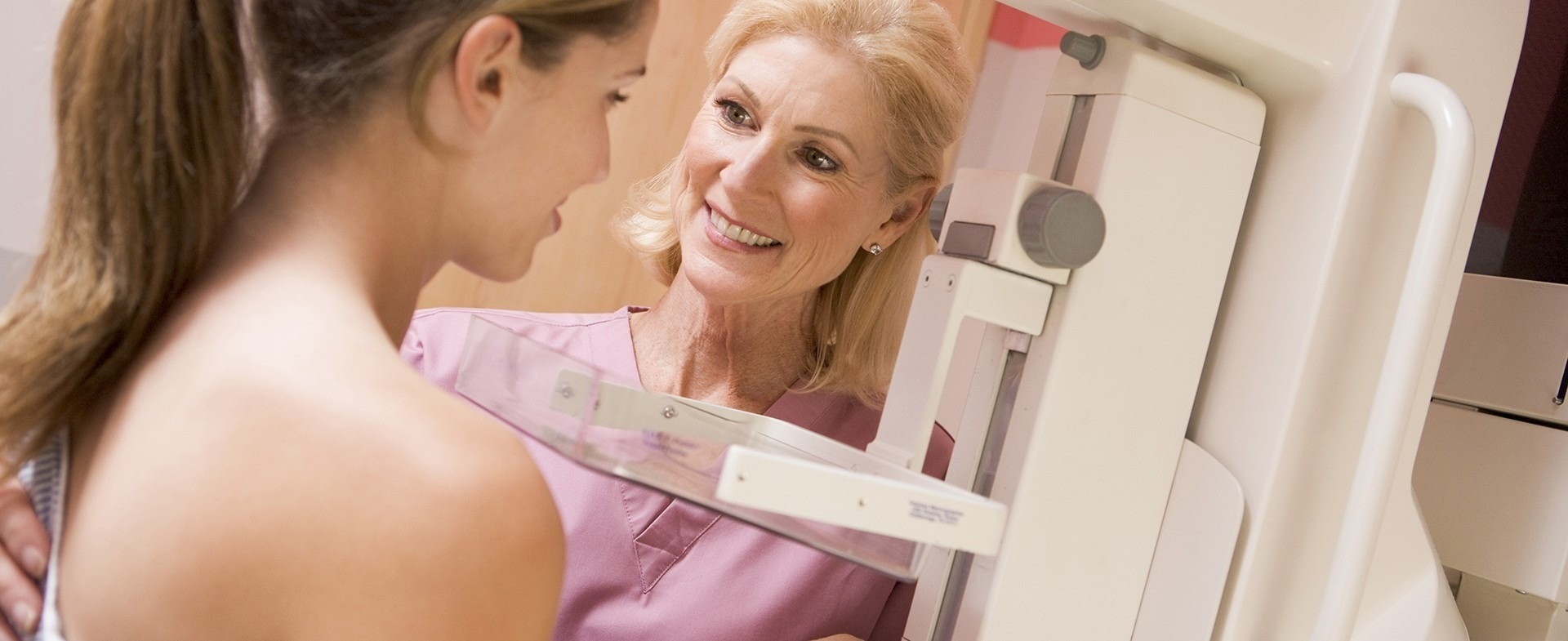Woman getting a mammogram