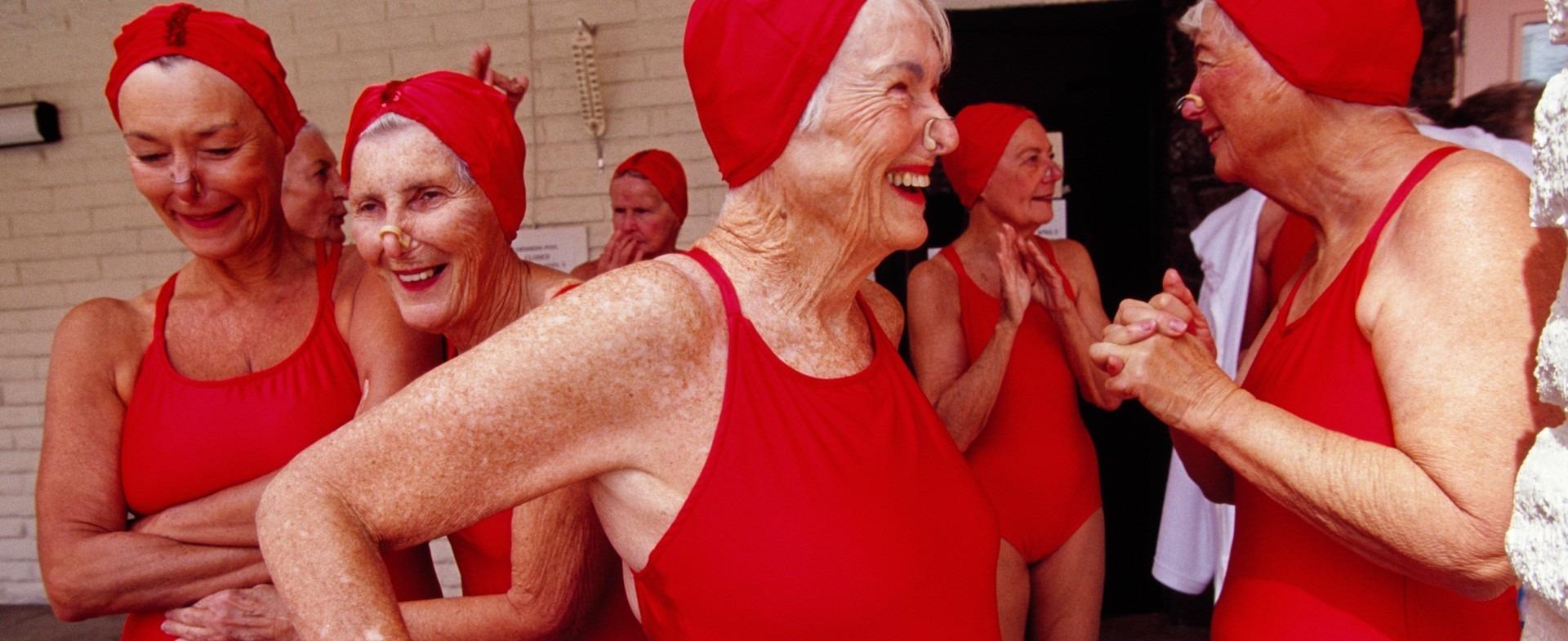 Senior citizen females in their swimwear
