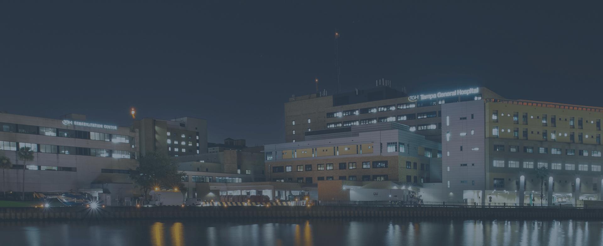 Tampa General Hospital at dusk