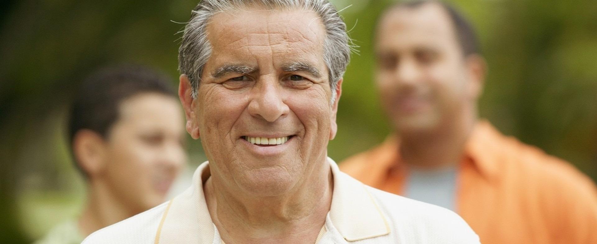 Senior citizen smiling