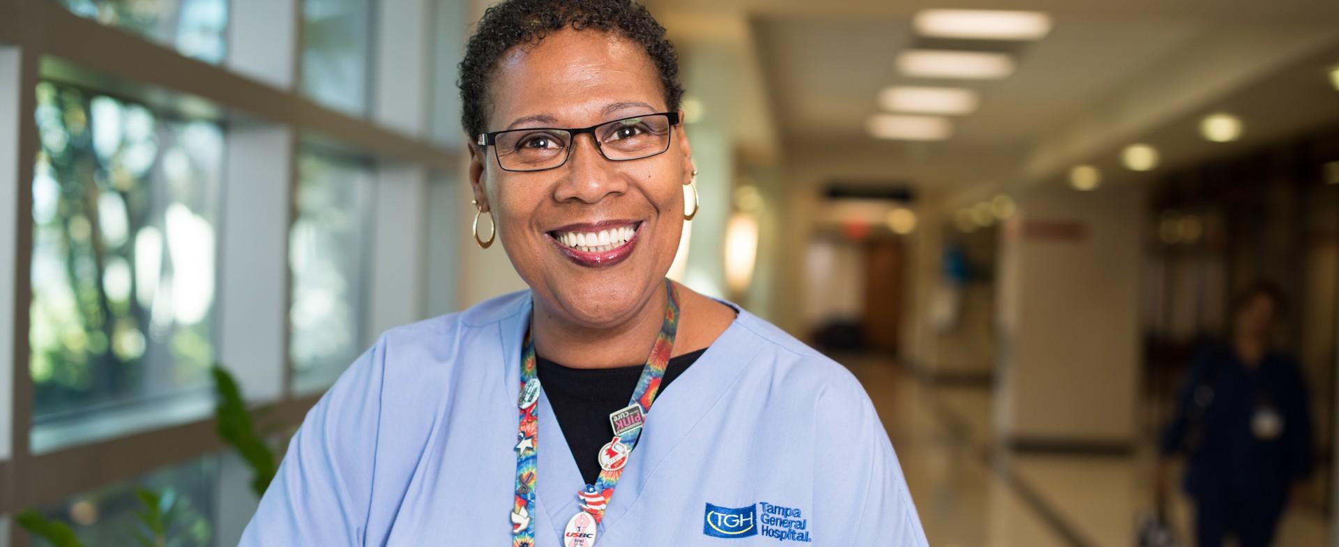 A smiling nurse at Tampa General Hospital