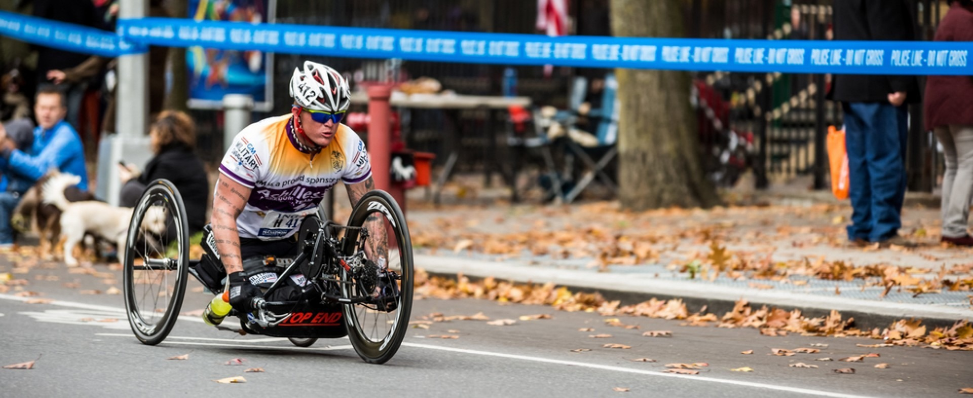 Man handcycling in a race