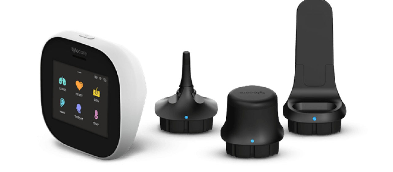 The at-home TGH Virtual Health Kit features a handheld Tyto device (far left) with (left to right) an otoscope adaptor for examining the ears, a stethoscope adaptor for examining heart and lung sounds, and a tongue depressor for examining the throat.