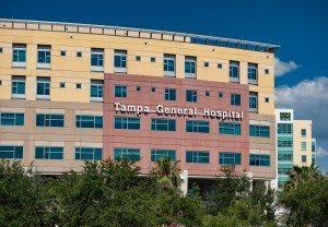 Close up exterior view of Tampa General Hospital sinage