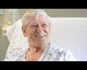 A smiling senior citizen patient