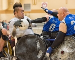 Two men participating at wheelchair rugby