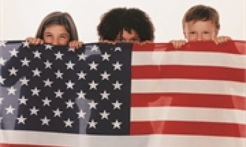 kids with American flag