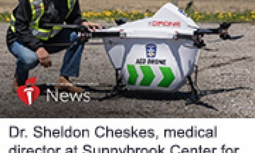 Dr. Sheldon Cheskes, medical director at the Sunnybrook Center for Prehospital Medicine in Toronto, with an AED drone.