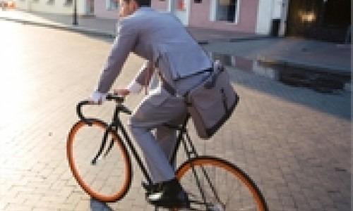 biker riding to work