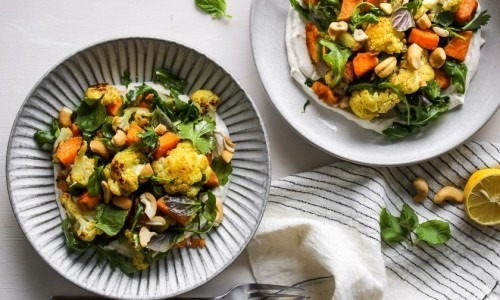 Curried Cauliflower and Sweet Potato Bowls with Cumin Yogurt