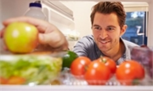 healthy foods inside a refrigerator