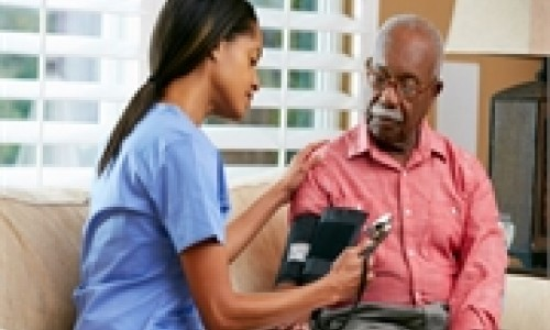 african american man getting blood pressure checked