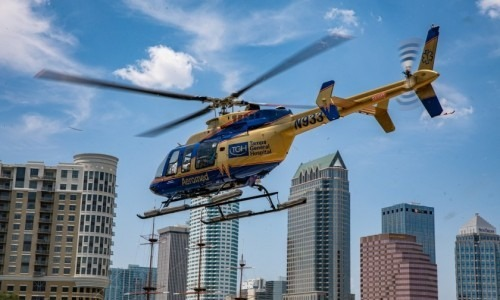 Helicopter landing at Tampa General Hospital