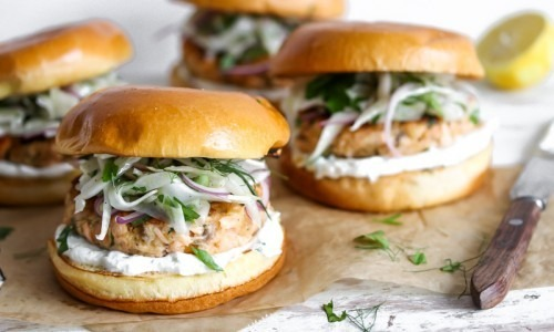 Salmon Burgers with Lemon-Caper Spread and Fennel Slaw