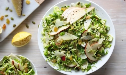 Shaved Brussels Sprouts and Pear Salad with Manchego