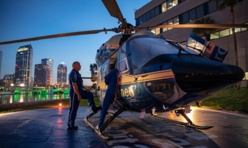 Aeromed helicopter at Tampa General Hospital